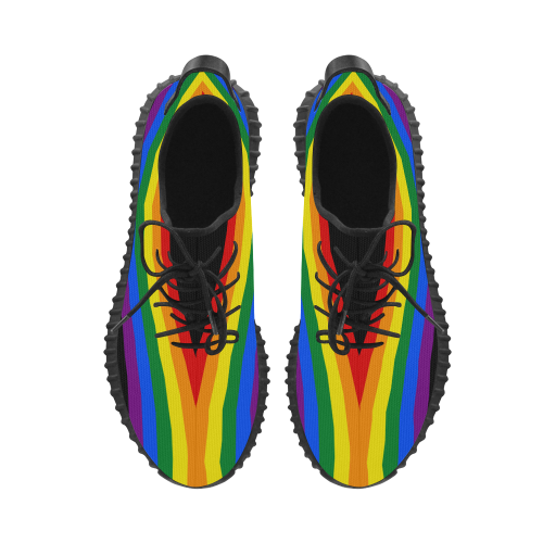 Gay Pride Rainbow Flag Stripes Grus Men's Breathable Woven Running Shoes (Model 022)