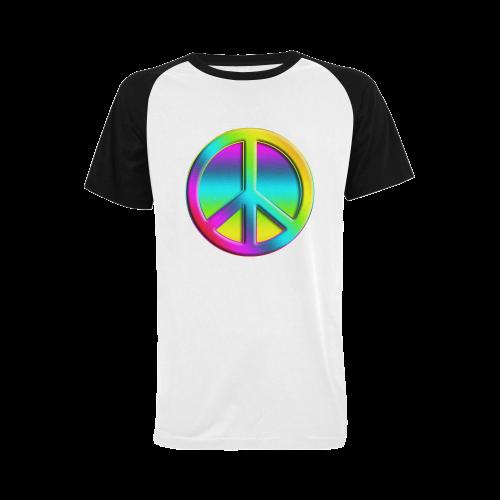 Neon Colorful Peace Pattern Men's Raglan T-shirt Big Size (USA Size) (Model T11)
