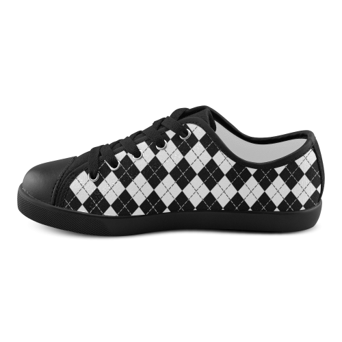 Black and White Argyle Canvas Kid's Shoes (Model 016)