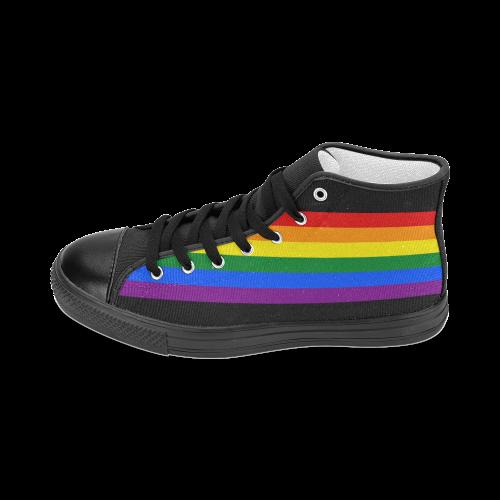 Gay Pride Rainbow Flag Stripes Men's Classic High Top Canvas Shoes (Model 017)