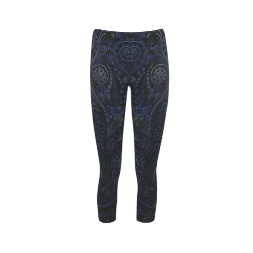 cee3d867f59d1 Ornamental blue on gray Capri Legging (Model L02) | ID: D345542