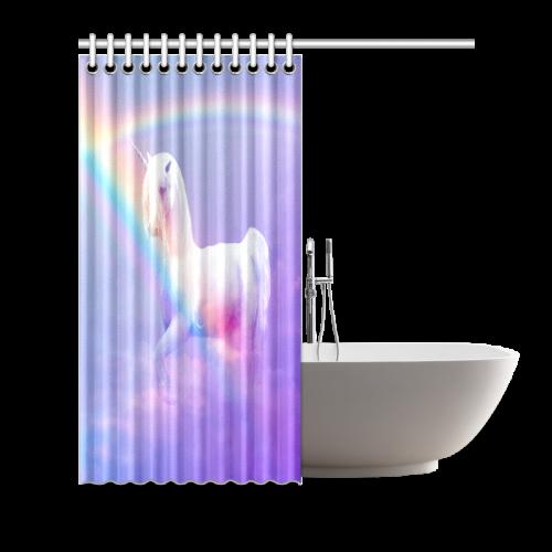 "Unicorn and Rainbow Shower Curtain 66""x72"""