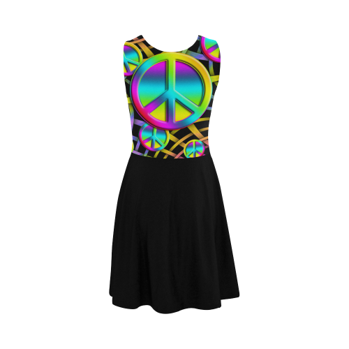 Neon Colorful Peace Pattern Atalanta Sundress (Model D04)