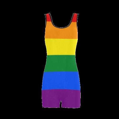 Gay Pride Rainbow Flag Stripes Classic One Piece Swimwear (Model S03)