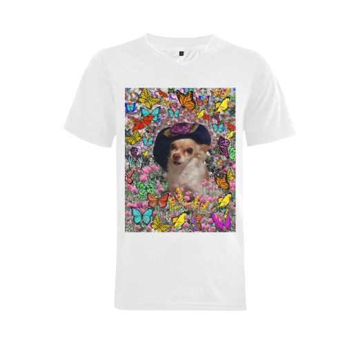Chi Chi in Yellow Butterflies, Chihuahua Puppy Dog Men's V-Neck T-shirt (USA Size) (Model T10)