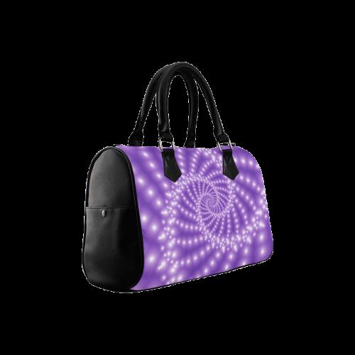 Glossy Purple Beads Spiral Fractal Boston Handbag (Model 1621)