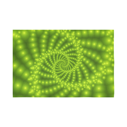 """Glossy Lime Green  Beads Spiral Fractal Cotton Linen Wall Tapestry 90""""x 60"""""""