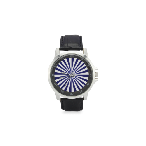 Blue Spiral Unisex Stainless Steel Leather Strap Watch(Model 202)