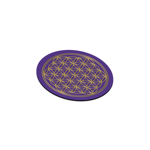 FLOWER OF LIFE gold Round Coaster