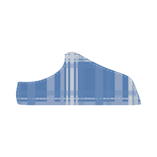 Blue Plaid Men's Chukka Canvas Shoes (Model 003)