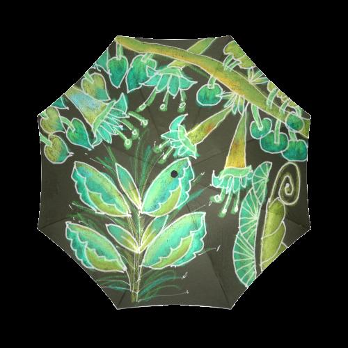 Irish Garden, Lime Green Flowers Dance in Joy Foldable Umbrella (Model U01)