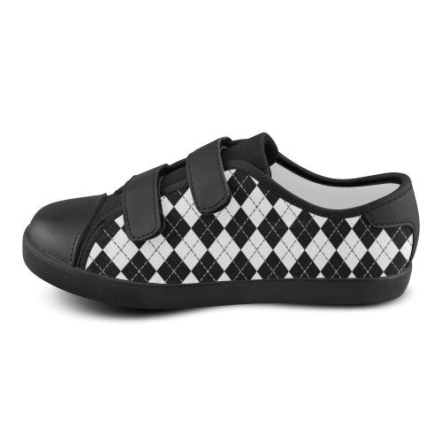 Black and White Argyle Velcro Canvas Kid's Shoes (Model 008)