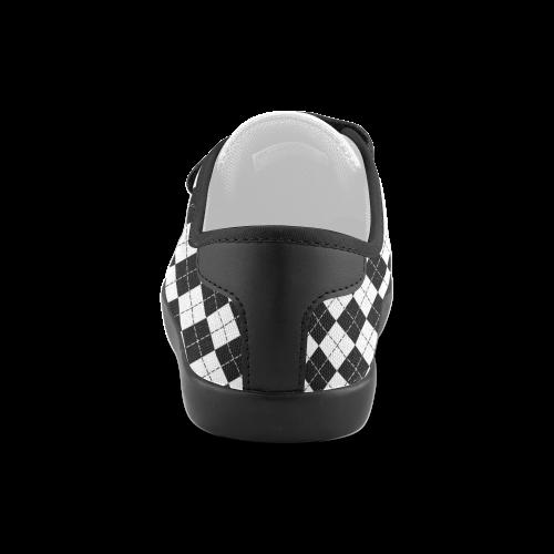 Black and White Argyle Velcro Canvas Kid's Shoes (Model 008)