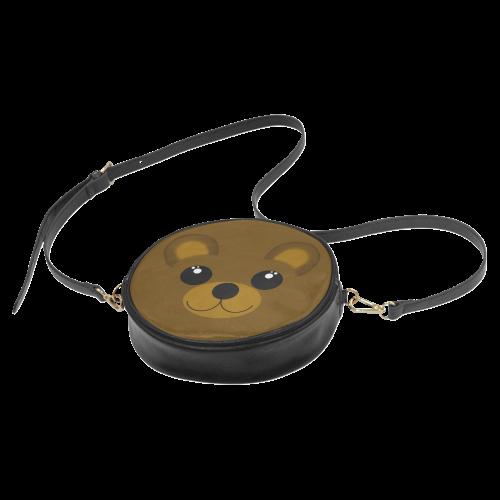Kawaii Brown Bear Round Sling Bag (Model 1647)