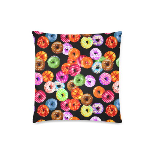 "Colorful Yummy DONUTS pattern Custom Zippered Pillow Case 18""x18""(Twin Sides)"