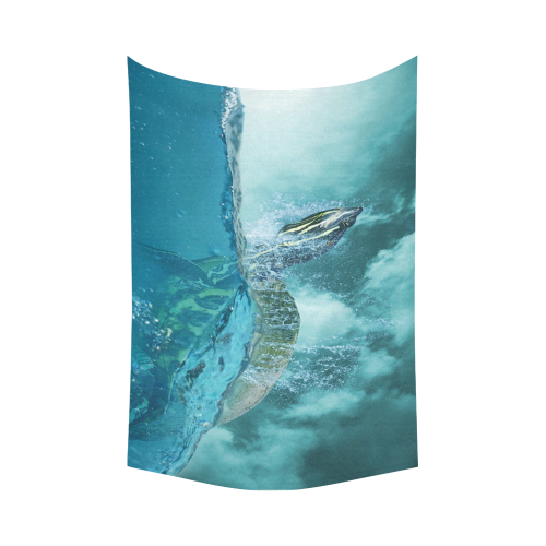 "Underwater Turtle Fantasy Cotton Linen Wall Tapestry 90""x 60"""