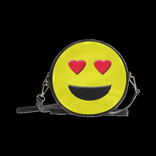 Emoticon Heart Smiley Round Sling Bag (Model 1647)