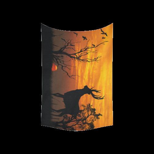 "Sunset Deer Silhouette Cotton Linen Wall Tapestry 60""x 40"""