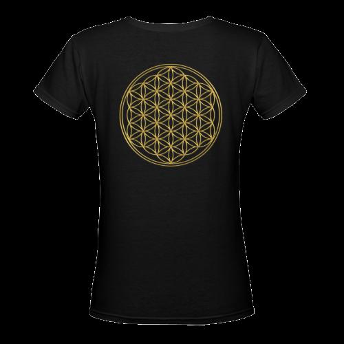 FLOWER OF LIFE gold Women's Deep V-neck T-shirt (Model T19)
