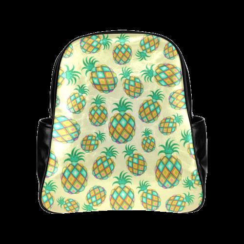 Pineapple Pastel Colors Pattern Multi-Pockets Backpack (Model 1636)