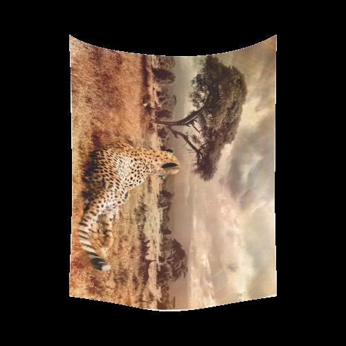 "Savanna Cheetah Cotton Linen Wall Tapestry 80""x 60"""