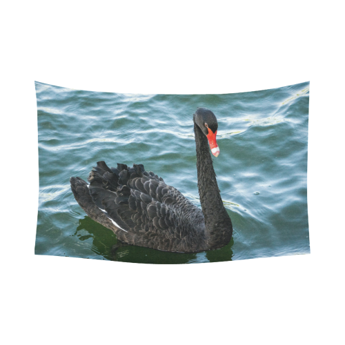 "Peaceful Black Swan Cotton Linen Wall Tapestry 90""x 60"""