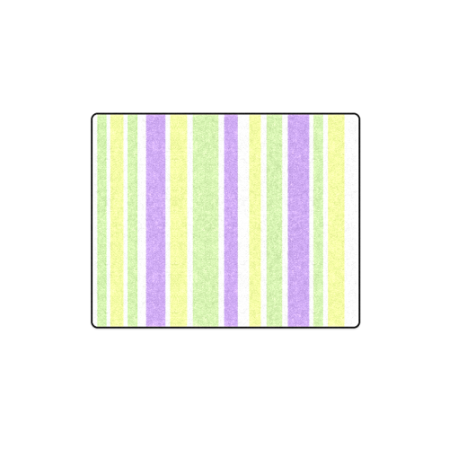 "Yellow Green Purple Stripes Pattern Blanket 40""x50"""