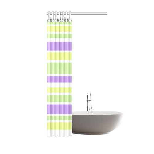 "Yellow Green Purple Stripes Pattern Shower Curtain 36""x72"""