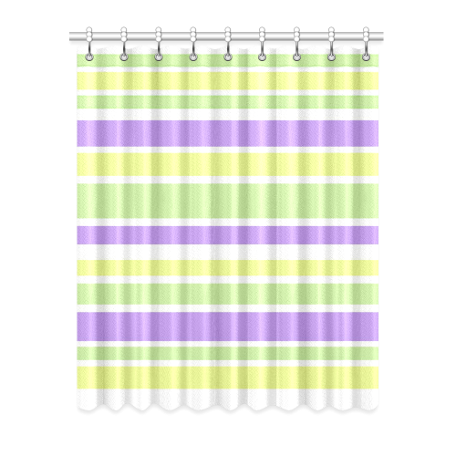"Yellow Green Purple Stripes Pattern Window Curtain 52"" x 63""(One Piece)"