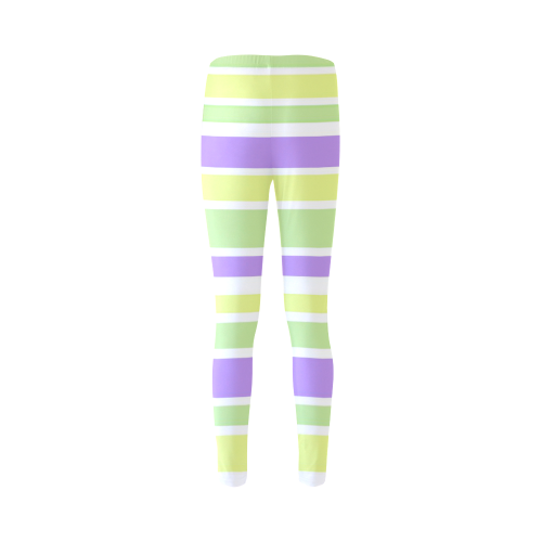 Yellow Green Purple Stripes Pattern Cassandra Women's Leggings