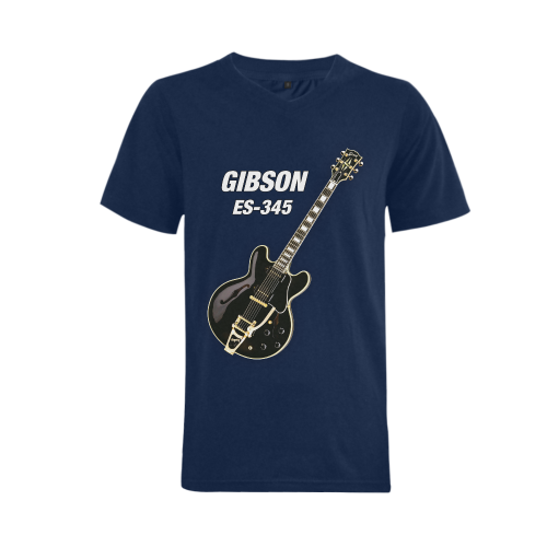 Black gibson-es-345 Men's V-Neck T-shirt (USA Size) (Model T10)