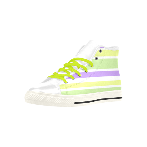 Yellow Purple Green Stripes Aquila High Top Microfiber Leather Men's Shoes (Model 027)