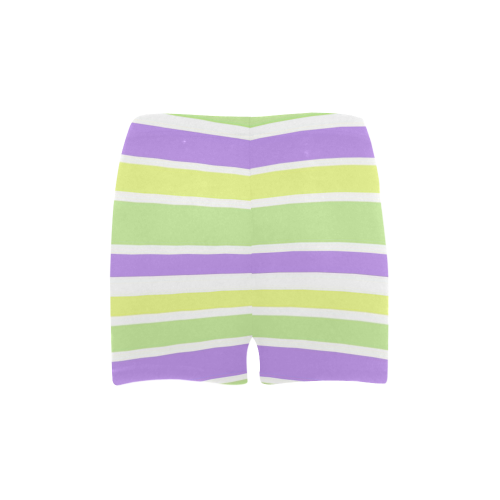 Yellow Green Purple Stripes Pattern Briseis Skinny Shorts