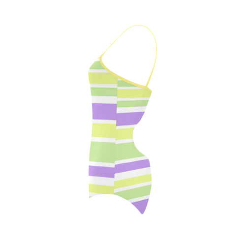 Yellow Green Purple Stripes Pattern Strap Swimsuit ( Model S05)