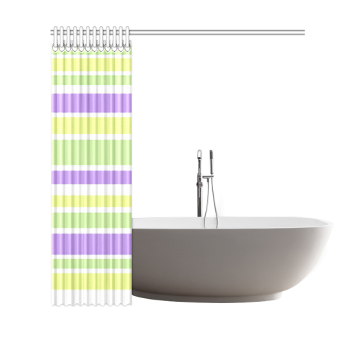 "Yellow Green Purple Stripes Pattern Shower Curtain 69""x70"""
