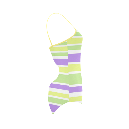 Yellow Green Purple Stripes Pattern Strap Swimsuit