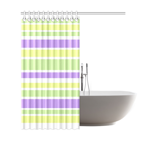 "Yellow Green Purple Stripes Pattern Shower Curtain 69""x72"""