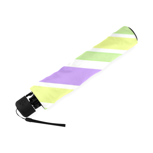 Yellow Green Purple Stripes Pattern Foldable Umbrella