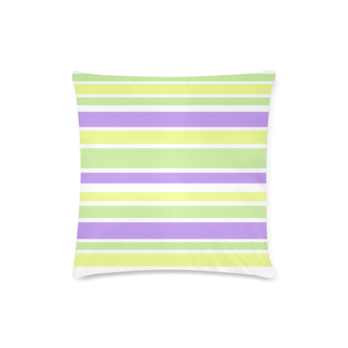 "Yellow Green Purple Stripes Pattern Custom Zippered Pillow Case 16""x16""(Twin Sides)"