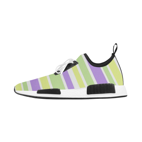 Yellow Purple Green Stripes Men's Draco Running Shoes (Model 025)