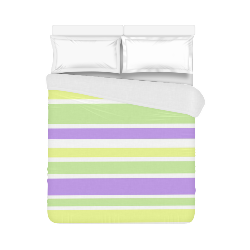 "Yellow Green Purple Stripes Pattern Duvet Cover 86""x70"" ( All-over-print)"