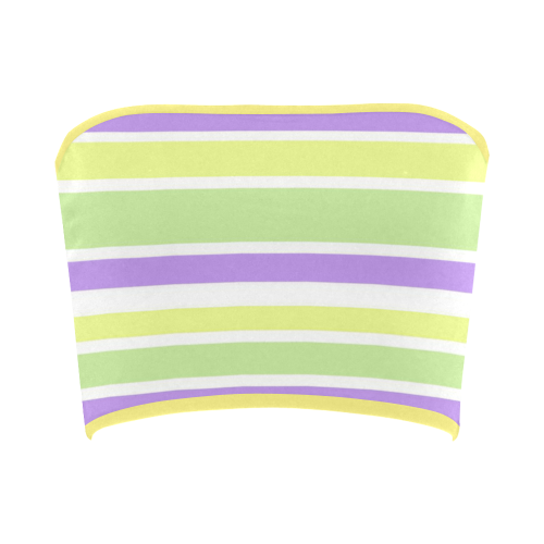 Yellow Green Purple Stripes Pattern Bandeau Top