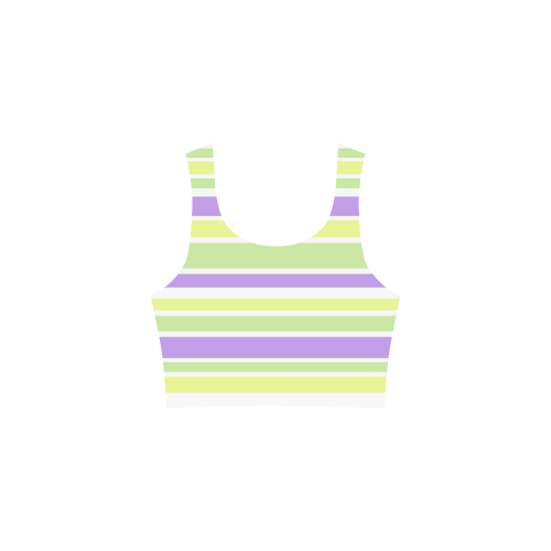 Yellow Green Purple Stripes Pattern Atalanta Sundress (Model D04)