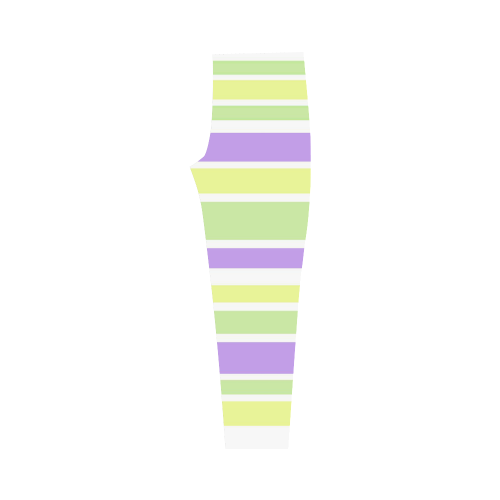 Yellow Green Purple Stripes Pattern Capri Legging