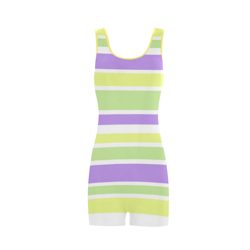 Yellow Green Purple Stripes Pattern Classic One Piece Swimwear (Model S03)