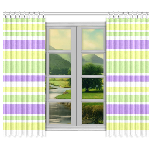 "Yellow Green Purple Stripes Pattern Window Curtain 50""x84""(Two Piece)"