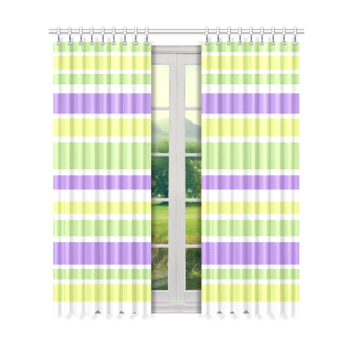 "Yellow Green Purple Stripes Pattern Window Curtain 50"" x 84""(One Piece)"
