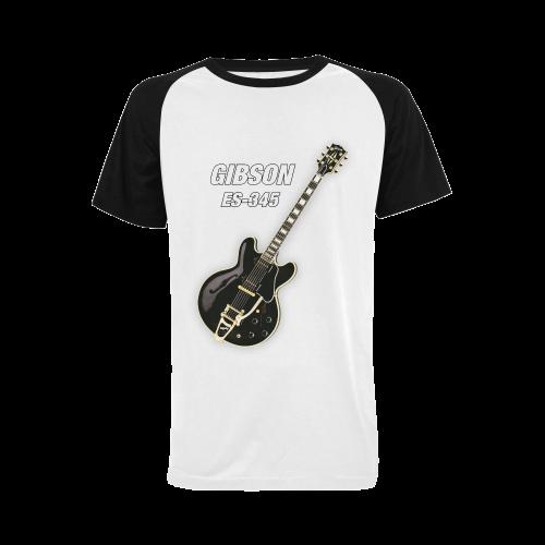 Black gibson-es-345 Men's Raglan T-shirt Big Size (USA Size) (Model T11)