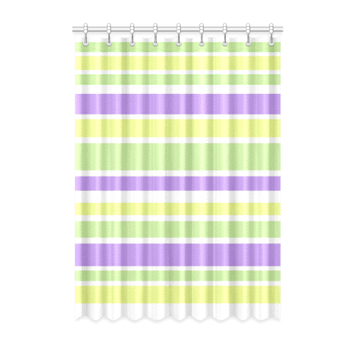 "Yellow Green Purple Stripes Pattern Window Curtain 52"" x 72""(One Piece)"