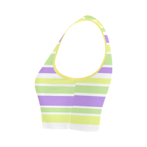 Yellow Green Purple Stripes Pattern Women's Crop Top (Model T42)